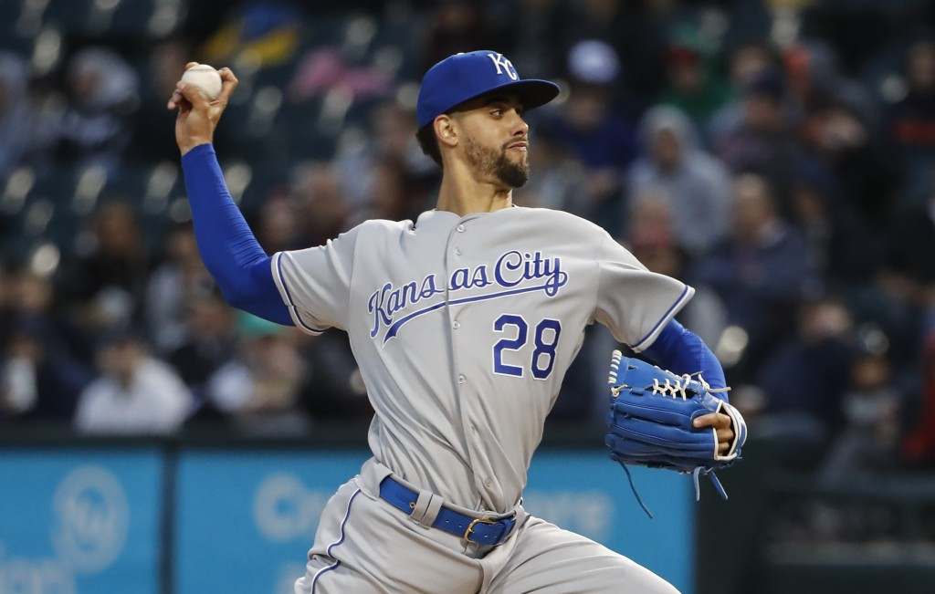 Kansas City Royals starting pitcher Jorge Lopez throws against the Chicago White Sox during the first inning of a baseball game, Tuesday, April 16, 20