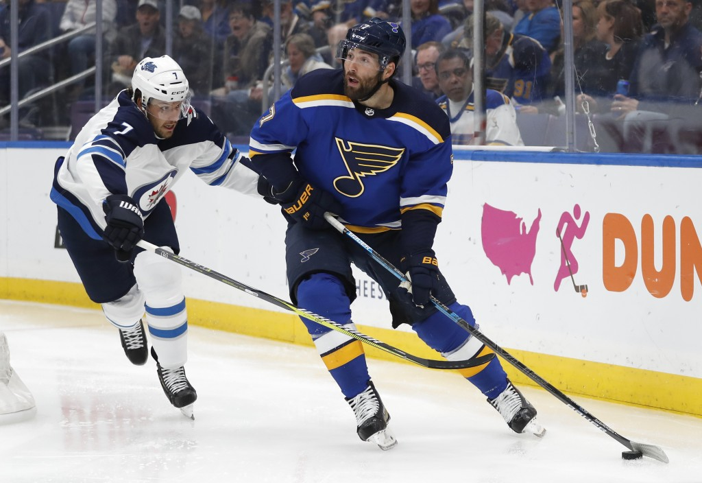 St. Louis Blues left wing Pat Maroon, right, is defended by Winnipeg Jets' Ben Chiarot, left, during the second period in Game 4 of an NHL first-round