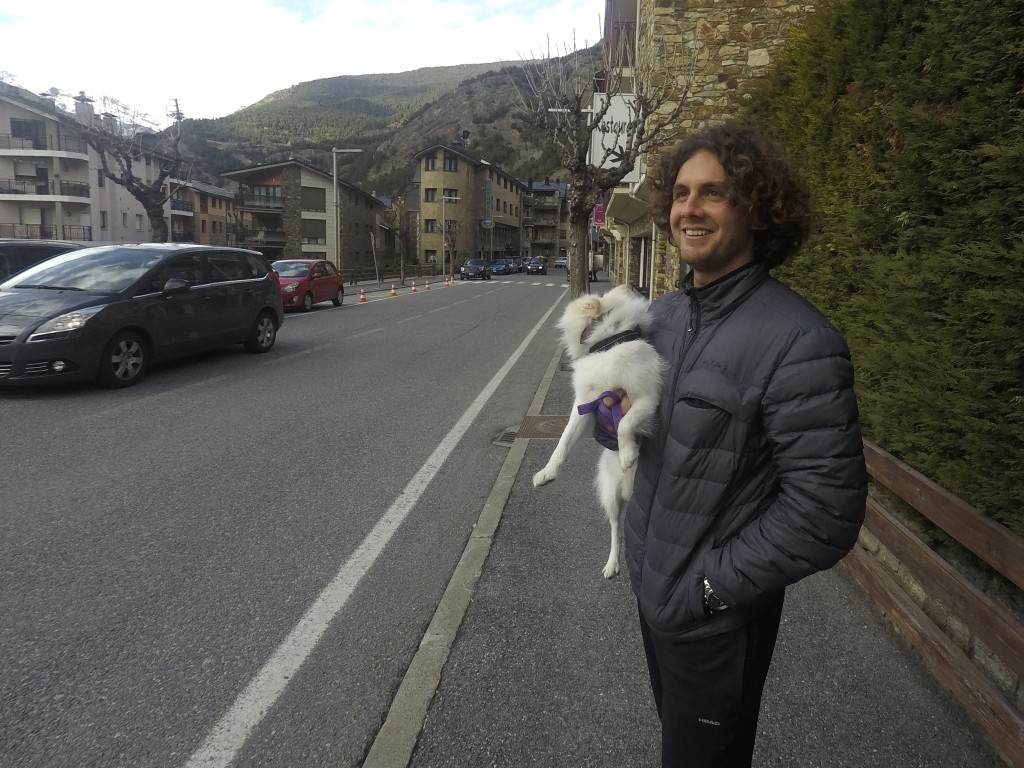 Argentina's Marco Trungelliti holds his dog in the principality of Andorra Monday, April 8, 2019. Blowing the whistle on betting-related corruption th