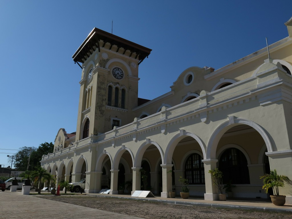 A former train station stands in Merida, Mexico, Thursday, April 11, 2019. A new, government proposed Mayan Train line would circle the Yucatan Penins