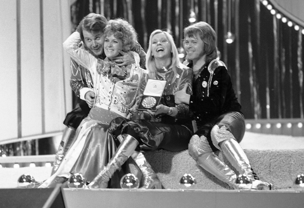FILE - In this April 6, 1974 file photo, Swedish pop group ABBA celebrate winning the 1974 Eurovision Song Contest on stage at the Brighton Dome in En