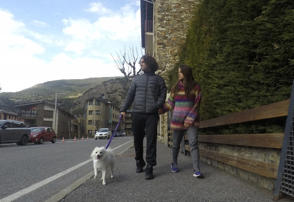 Marco Trungelliti and his wife, Nadir, walk their dog in the principality of Andorra Monday, April 8, 2019. Blowing the whistle on betting-related cor...
