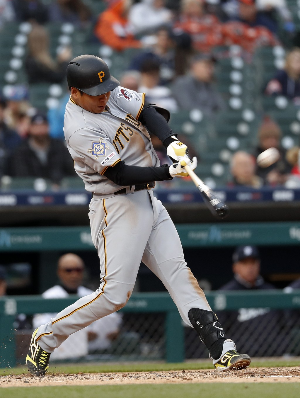 Pittsburgh Pirates' Jung Ho Kang hits a two-run home run in the fourth inning of a baseball game against the Detroit Tigers in Detroit, Tuesday, April