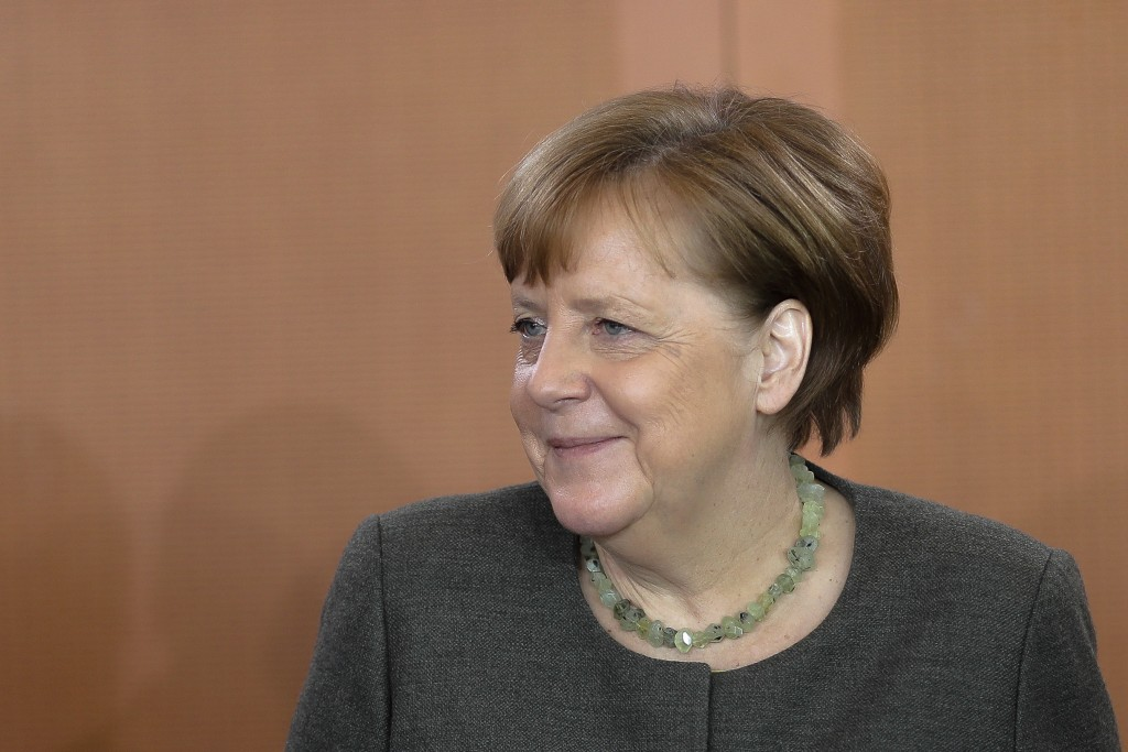 German Chancellor Angela Merkel arrives for the weekly cabinet meeting of the German government at the chancellery in Berlin, Wednesday, April 17, 201