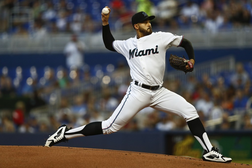 Miami Marlins starting pitcher Pablo Lopez delivers during the first inning of a baseball game against the Chicago Cubs on Tuesday, April 16, 2019, in