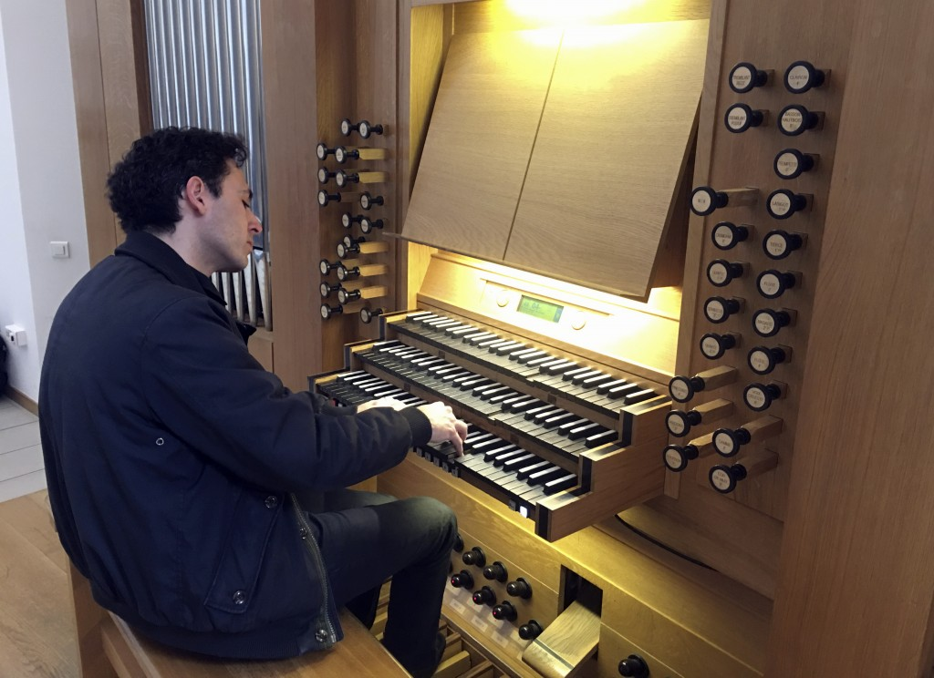 Vincent Dubois, organist at the Great Organ of Notre-Dame de Paris, plays the organ at Strasbourg Conservatoire (music school), eastern France, Wednes