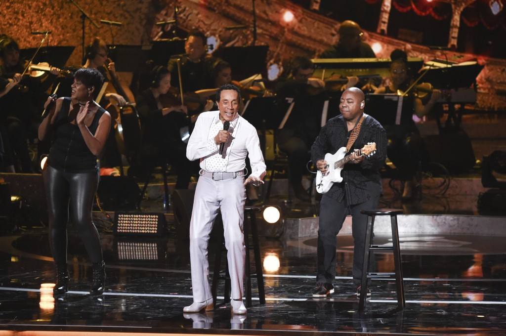 FILE - In this Feb.12, 2019 file photo, Smokey Robinson performs during Motown 60: A GRAMMY Celebration at the Microsoft Theater in Los Angeles. Motow...