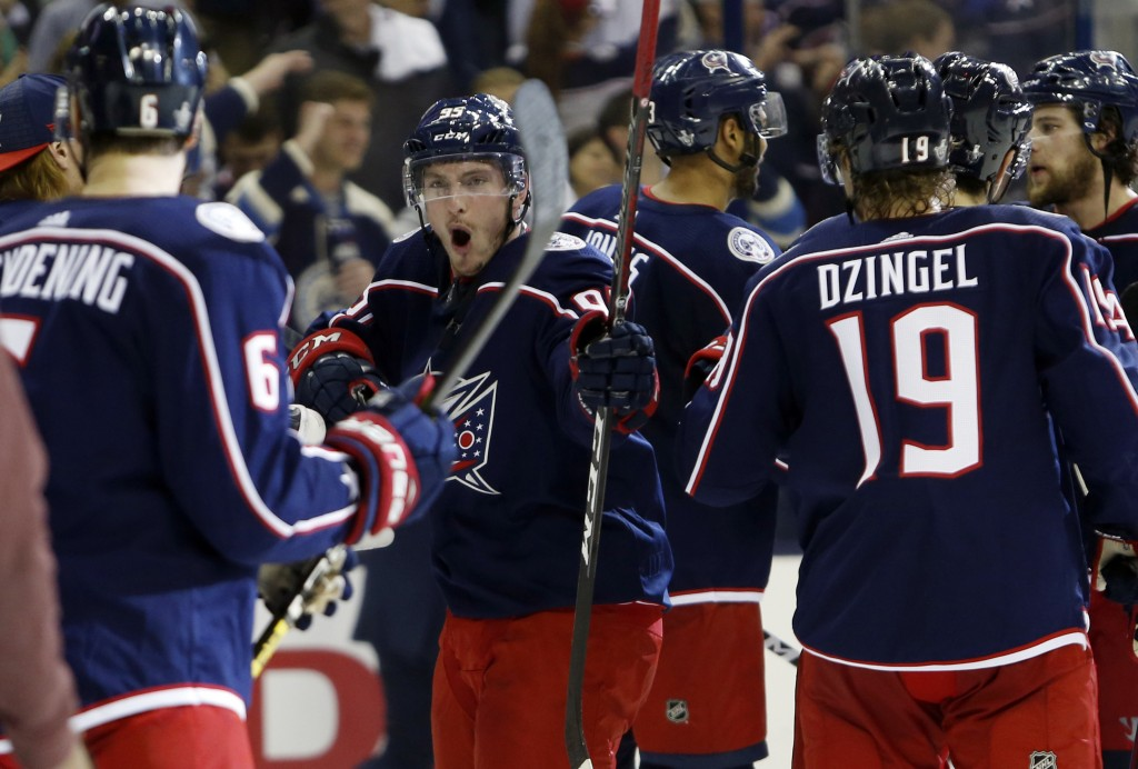 Columbus Blue Jackets' Matt Duchene celebrates the team's win over the Tampa Bay Lightning in Game 4 of an NHL hockey first-round playoff series, Tues...