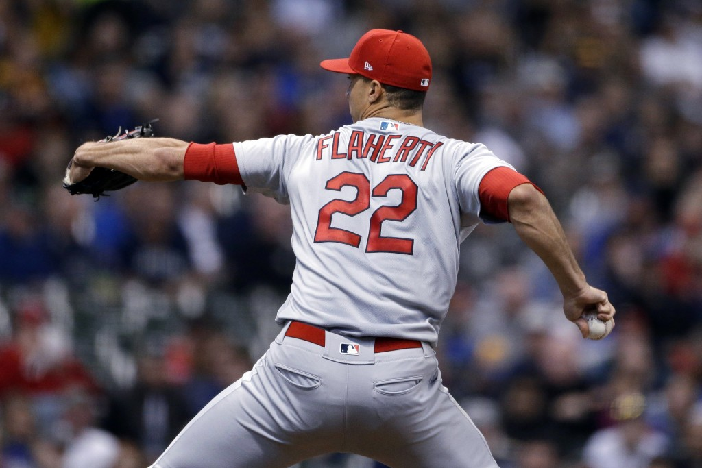 St. Louis Cardinals' Jack Flaherty pitches during the first inning of the team's baseball game against the Milwaukee Brewers on Tuesday, April 16, 201