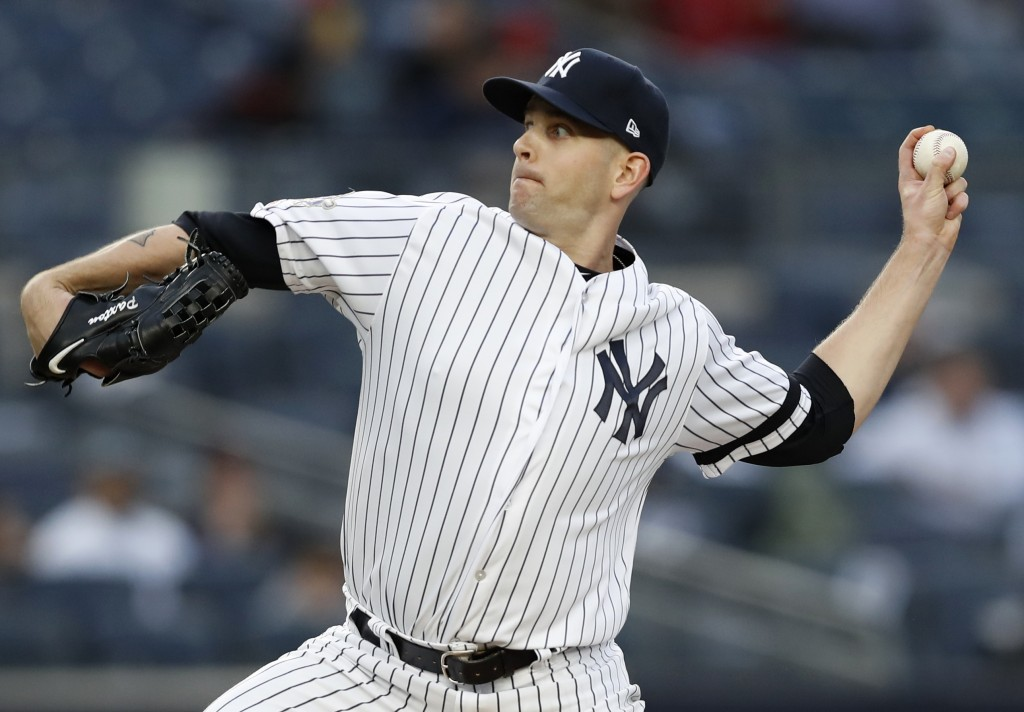 New York Yankees starting pitcher James Paxton delivers during the first inning of the team's baseball game against the Boston Red Sox, Tuesday, April...