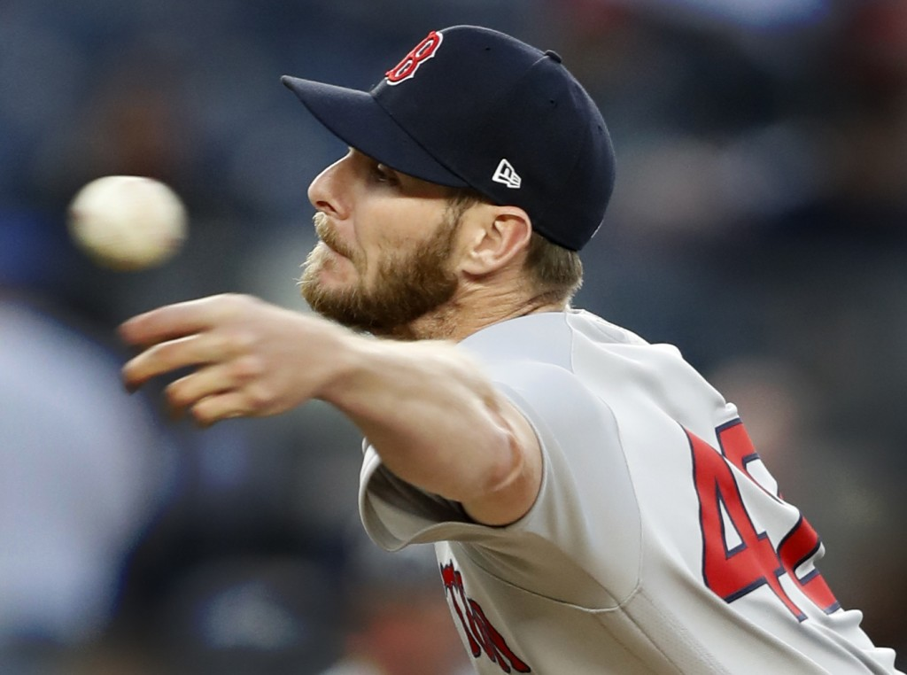 Boston Red Sox starting pitcher Chris Sale throws during the second inning of the team's baseball game against the New York Yankees, Tuesday, April 16