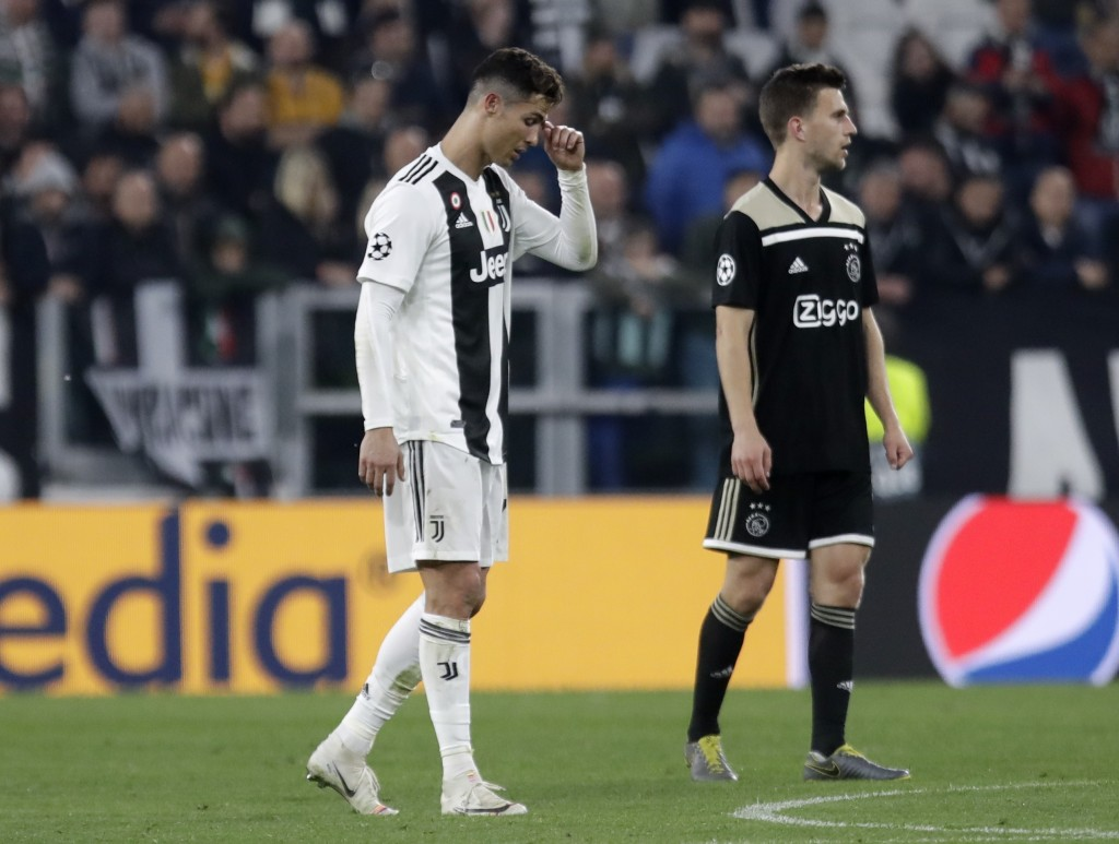 Juventus' Cristiano Ronaldo reacts during the Champions League, quarterfinal, second leg soccer match between Juventus and Ajax, at the Allianz stadiu