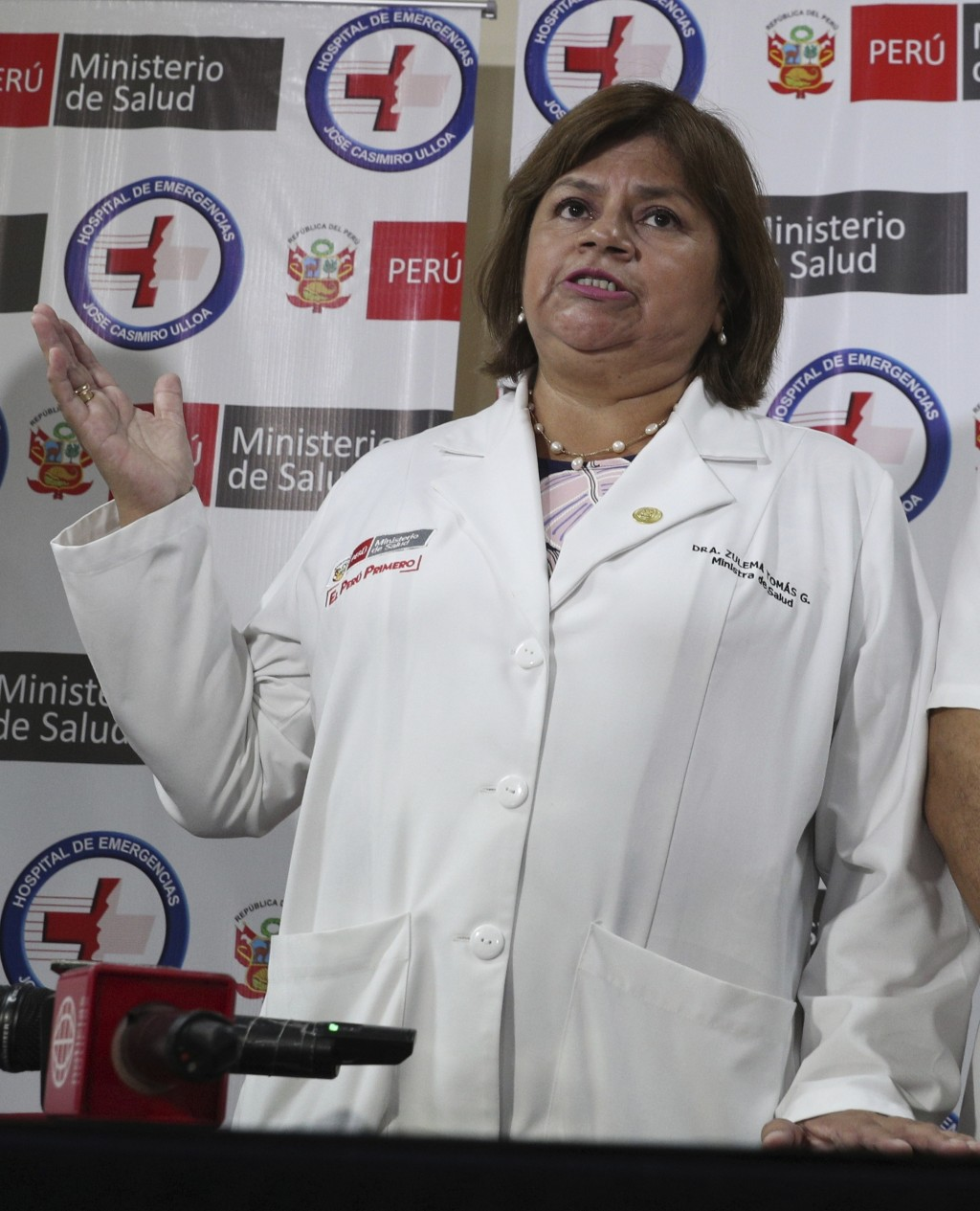 Health Minister Zulema Tomas speaks at a news conference at the Casimiro Ulloa hospital where former Peruvian President Alan Garcia was taken after he