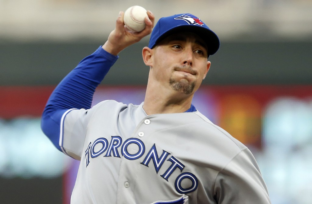 Toronto Blue Jays pitcher Aaron Sanchez throws against the Minnesota Twins in the first inning of a baseball game, Tuesday, April 16, 2019, in Minneap...