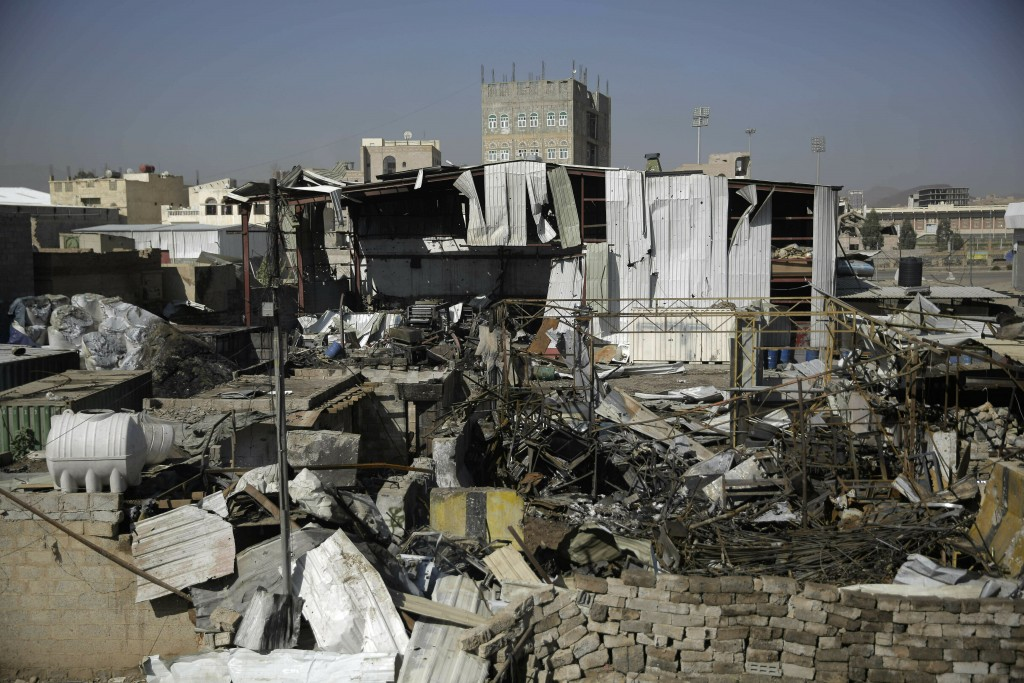 FILE - This April 10, 2019, file photo shows a view of the site of an airstrike by Saudi-led coalition in Sanaa, Yemen. President Donald Trump on Tues