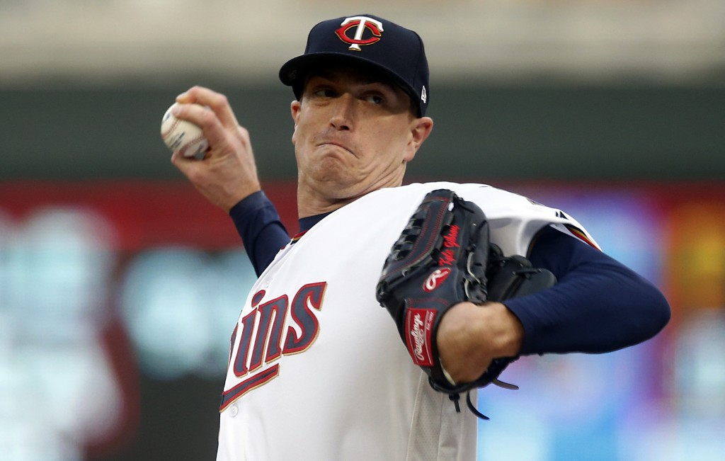 Minnesota Twins pitcher Kyle Gibson throws against the Toronto Blue Jays in the first inning of a baseball game, Tuesday, April 16, 2019, in Minneapol...