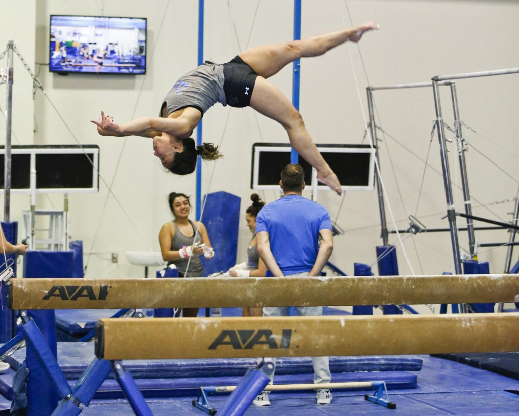 In this Thursday, April 11, 2019, photo, UCLA gymnast Katelyn Ohashi trains with the University of California Bruins gymnastics team in Los Angeles. O
