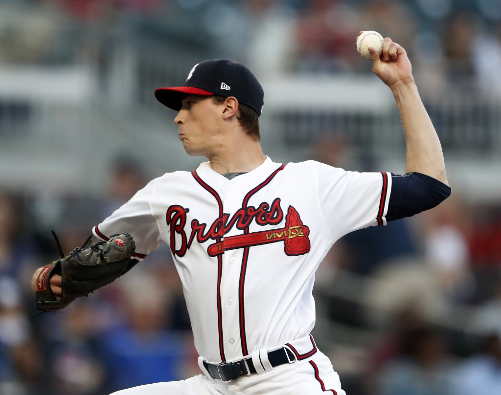 Atlanta Braves starting pitcher Max Fried (54) works in the first inning of a baseball game against the Arizona Diamondbacks, Tuesday, April 16, 2019,...