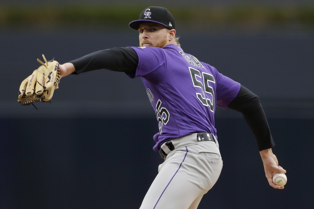 Colorado Rockies starting pitcher Jon Gray works against a San Diego Padres batter during the first inning of a baseball game Tuesday, April 16, 2019,