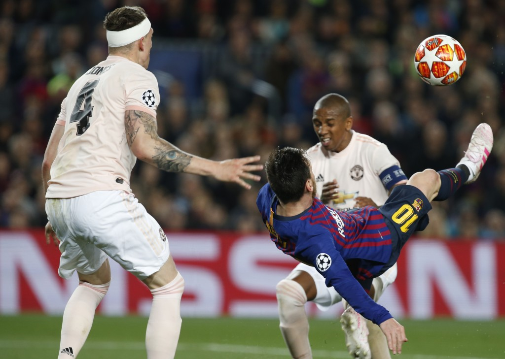 Barcelona forward Lionel Messi tries to score with a bicycle kick during the Champions League quarterfinal, second leg, soccer match between FC Barcel
