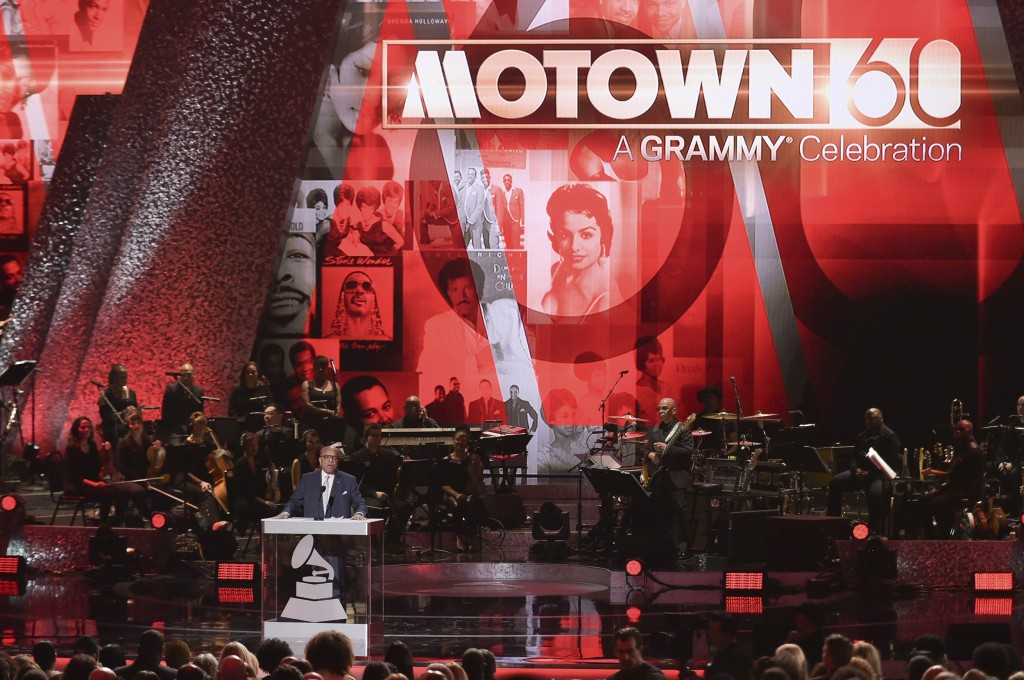 FILE - In this Feb. 12, 2019 file photo, Berry Gordy speaks onstage during Motown 60: A GRAMMY Celebration at the Microsoft Theater in Los Angeles. Mo...