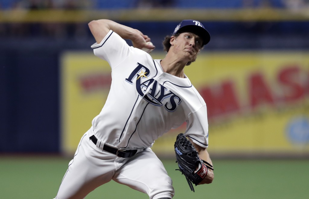 Tampa Bay Rays starting pitcher Tyler Glasnow delivers to a Baltimore Orioles batter during the first inning of a baseball game Tuesday, April 16, 201