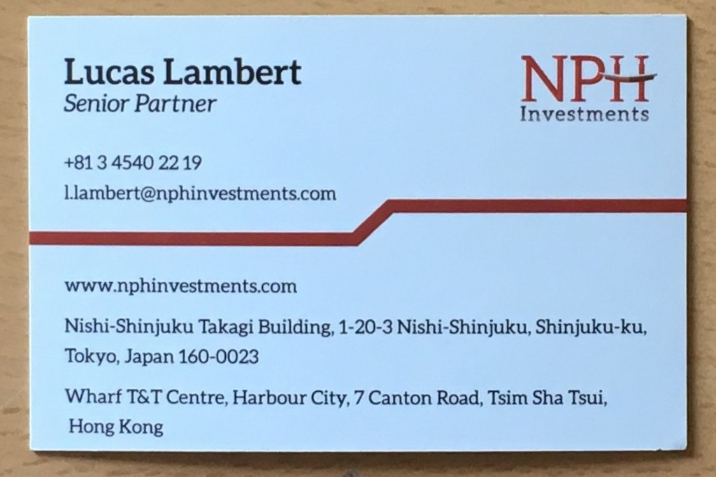 This June 11, 2018 photo provided by English academic Keir Giles shows a business card that he was given by an undercover operative using the alias Lu