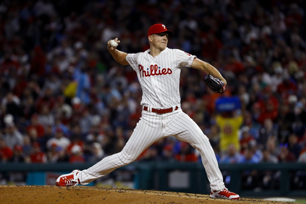 Philadelphia Phillies' Nick Pivetta pitches during the third inning of a baseball game against the New York Mets, Tuesday, April 16, 2019, in Philadel