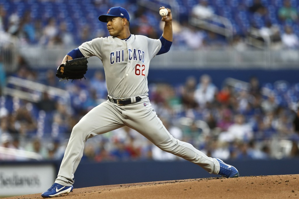 Chicago Cubs starting pitcher Jose Quintana (62) delivers during the first inning of a baseball game against the Miami Marlins on Tuesday, April 16, 2