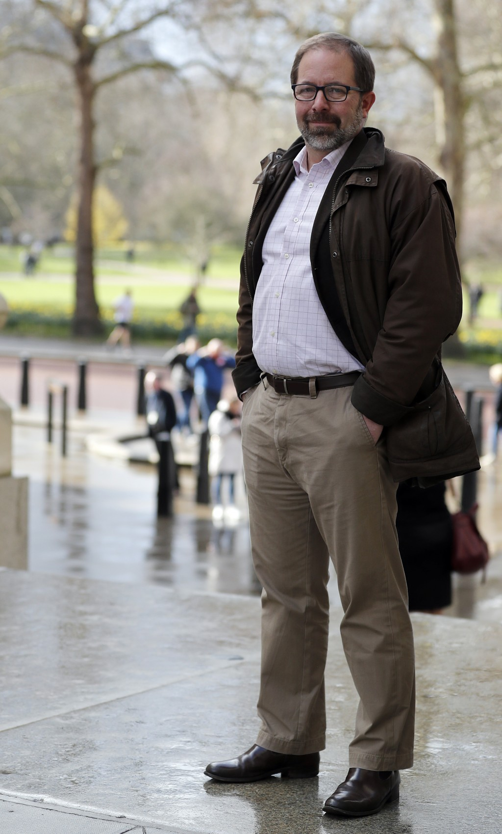 Keir Giles, a Russia specialist with Britain's Chatham House think tank, poses for a photo in central London on Thursday, Feb. 28, 2019. Giles was one