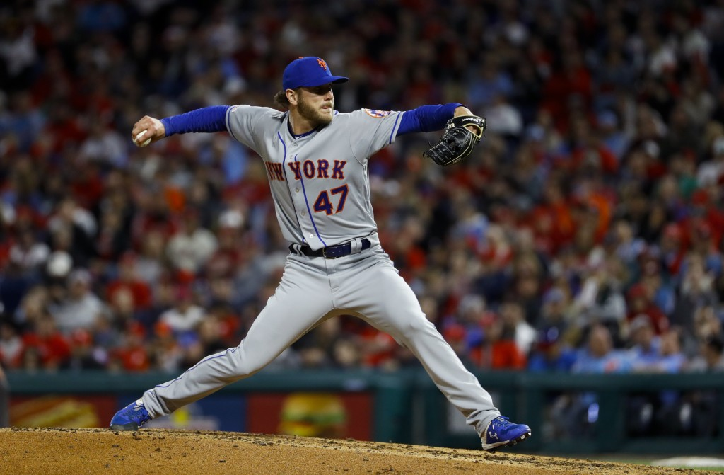 New York Mets' Drew Gagnon pitches during the fourth inning of a baseball game against the Philadelphia Phillies, Tuesday, April 16, 2019, in Philadel