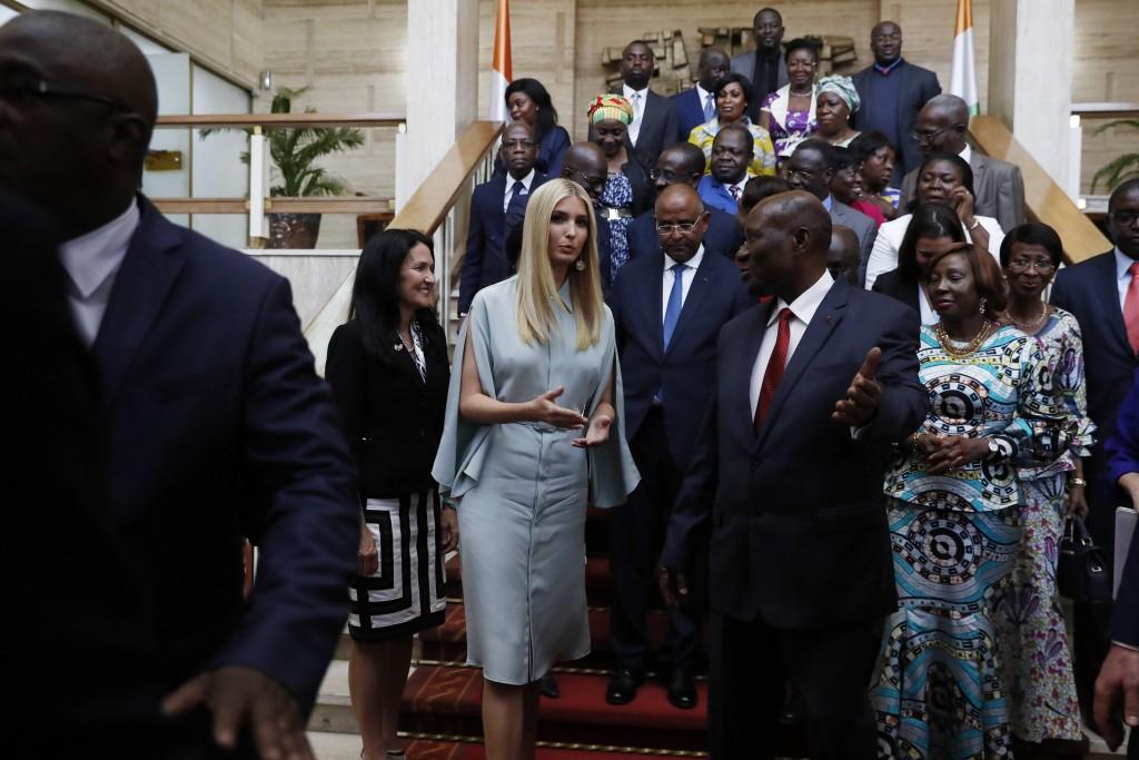 White House senior adviser Ivanka Trump, center left, talks with Ivory Coast Vice President Daniel Kablan Duncan, center right, at the end of a group ...