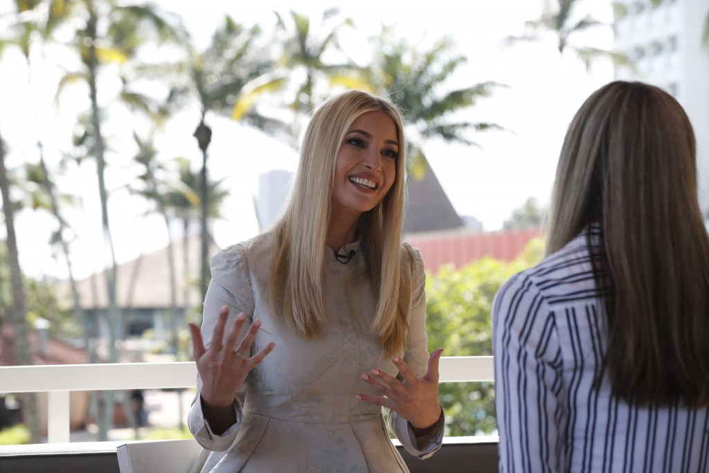 White House senior adviser Ivanka Trump speaks during an interview with The Associated Press, Wednesday April 17, 2019, in Abidjan, Ivory Coast, where...