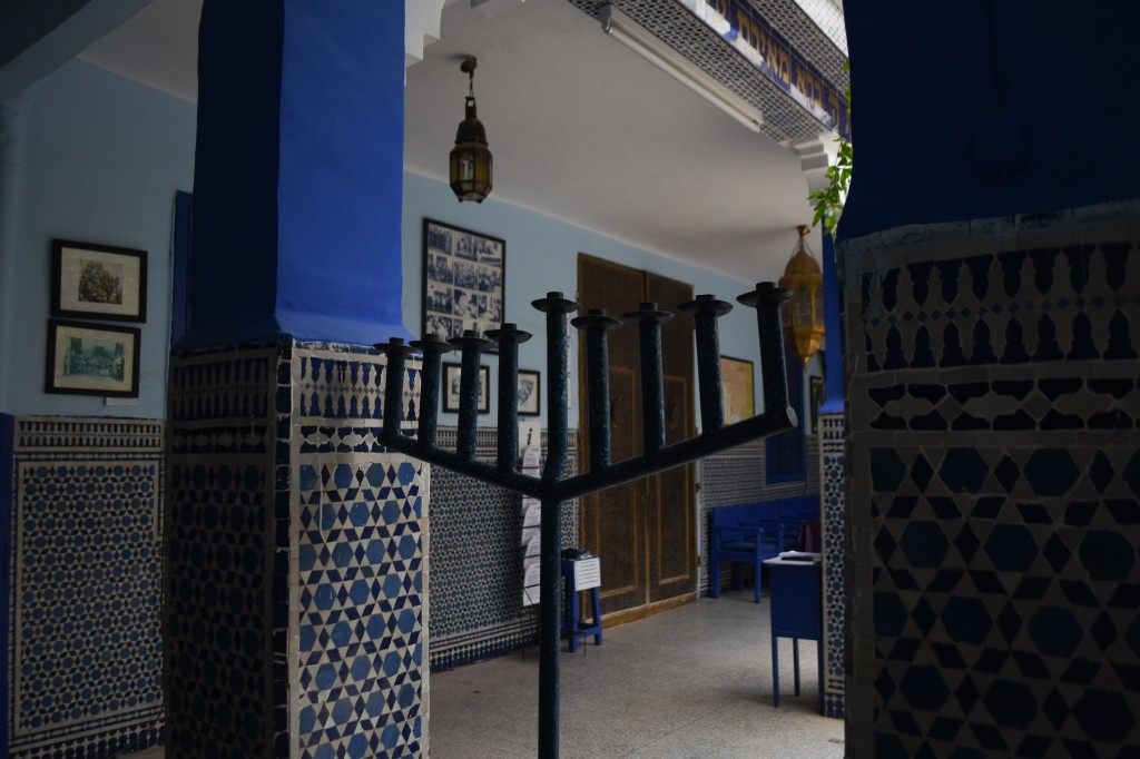 This March 29, 2019, photo shows a menorah at Lazama Synagogue in Marrakech, Morocco. The North African kingdom once had a thriving Jewish population.