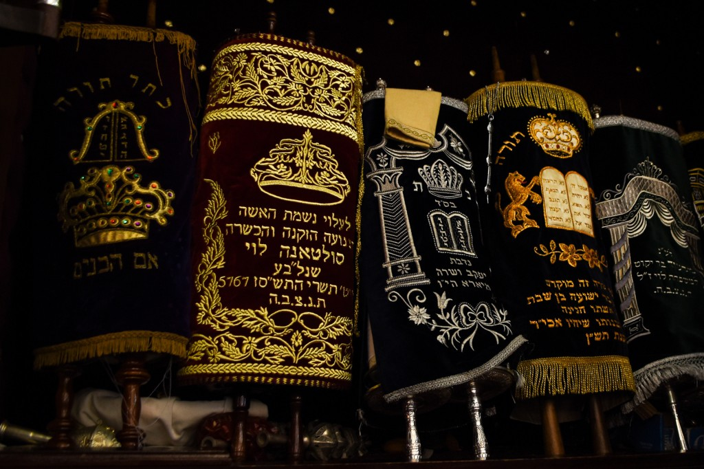 This March 27, 2019 photo shows the Torah scrolls in the ark of Em Habonim Synagogue of Casablanca, Morocco. The city in the North African kingdom onc