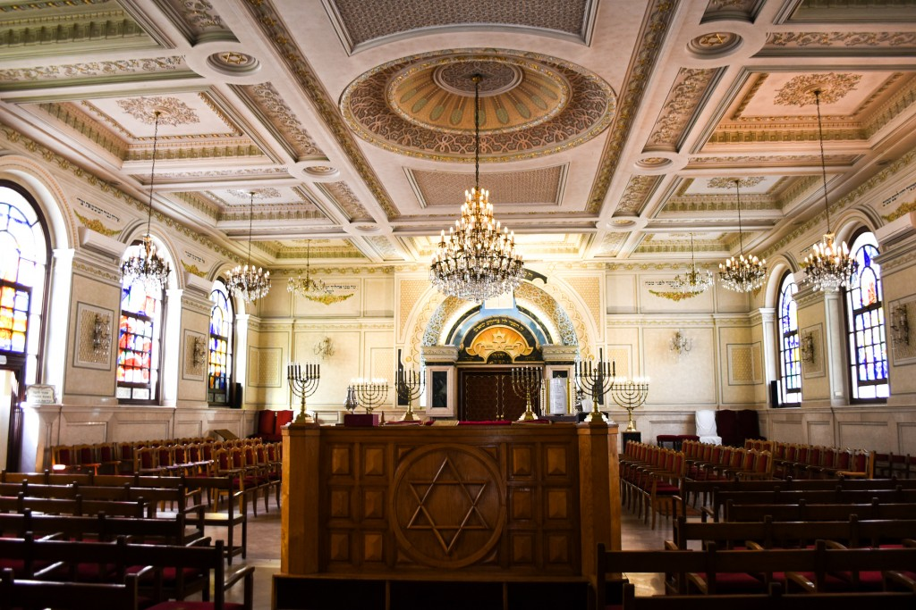 This March 27, 2019 photo shows the sanctuary at Temple Beth-El in Casablanca, Morocco. The Jewish synagogue is often considered a centerpiece of a on
