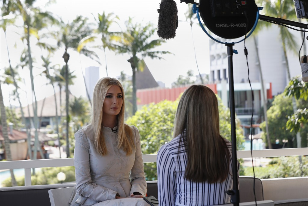 White House senior adviser Ivanka Trump speaks during an interview with The Associated Press, Wednesday April 17, 2019, in Abidjan, Ivory Coast, where
