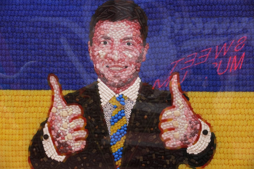 A portrait of Ukrainian presidential candidate and popular comedian Volodymyr Zelenskiy made of candies is displayed at the Sweet Museum in St.Petersb...