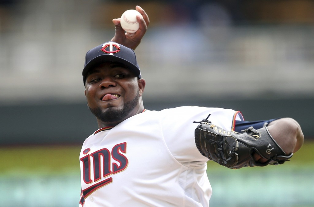 Minnesota Twins pitcher Michael Pineda throws against the Toronto Blue Jays in the first inning of a baseball game Thursday, April 18, 2019, in Minnea...