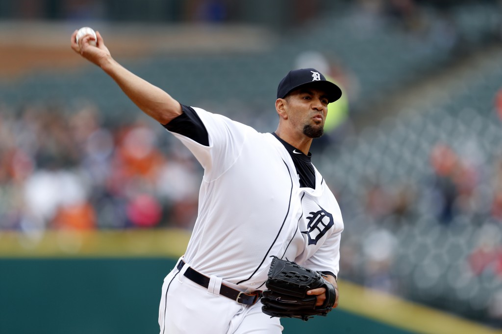 Detroit Tigers pitcher Tyson Ross throws against the Chicago White Sox in the first inning of a baseball game in Detroit, Thursday, April 18, 2019. (A...