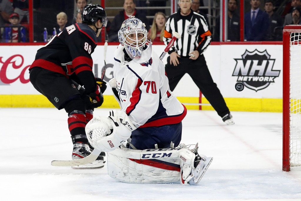 Washington Capitals goaltender Braden Holtby (70) looks back at the puck after Carolina Hurricanes' Teuvo Teravainen (86), of Finland, scored during t...