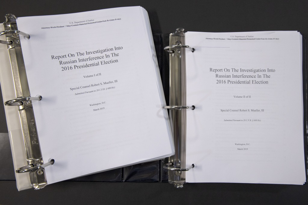 Special counsel Robert Mueller's redacted report on the investigation into Russian interference in the 2016 presidential election is photographed Thur