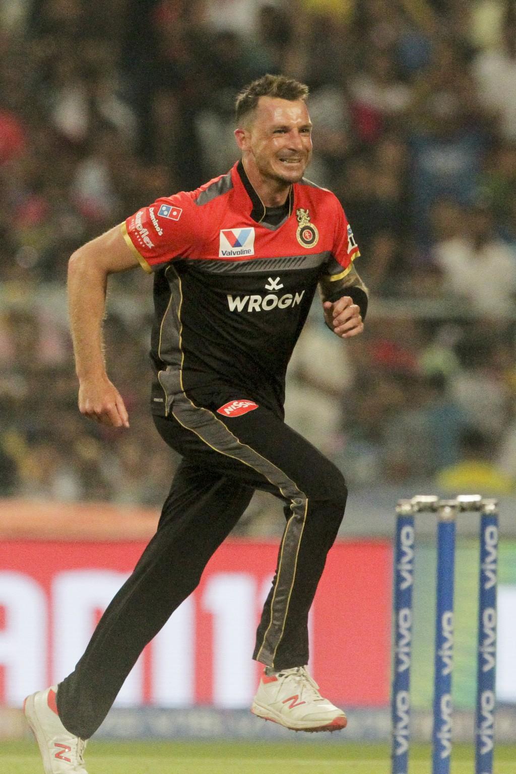 Royal Challengers Bangalore's bowler Dale Steyn celebrates the dismissal of Kolkata Knight Riders' Chris Lynn during the VIVO IPL cricket T20 match in...