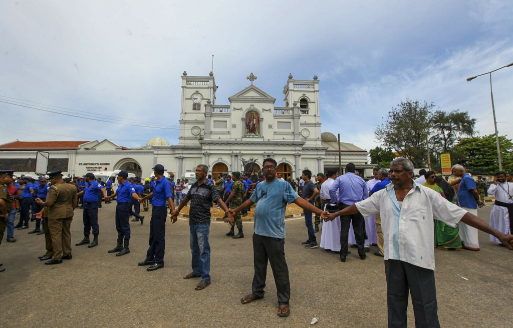 Sri Lankan army soldiers secure the area around St. Anthony's Shrine after a blast in Colombo, Sri Lanka, Sunday, April 21, 2019. More than hundred pe...