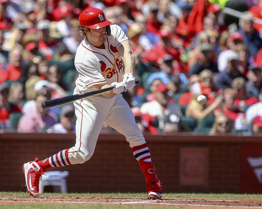 St. Louis Cardinals' Miles Mikolas hits a two-run single during the second inning of a baseball game against the New York Mets Saturday, April 20, 201...