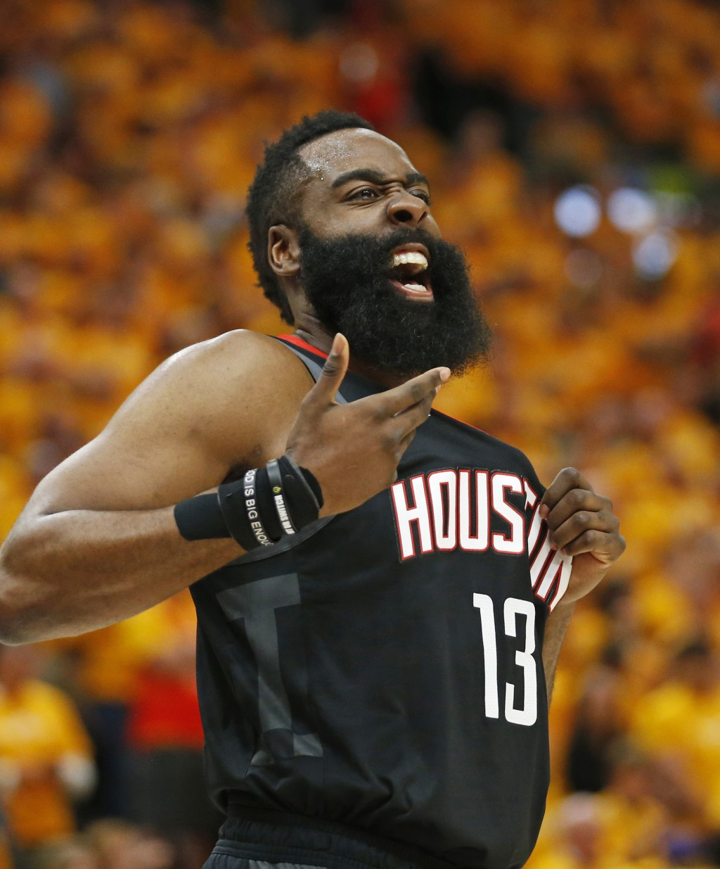 Houston Rockets guard James Harden (13) reacts after a foul in the first half during an NBA basketball game against the Utah Jazz Saturday, April 20, ...
