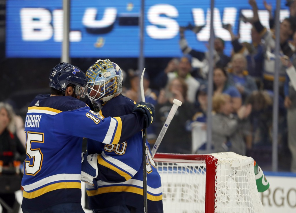 St. Louis Blues' Robby Fabbri, left, and goaltender Jordan Binnington celebrate after defeating the Winnipeg Jets in Game 6 of an NHL first-round hock