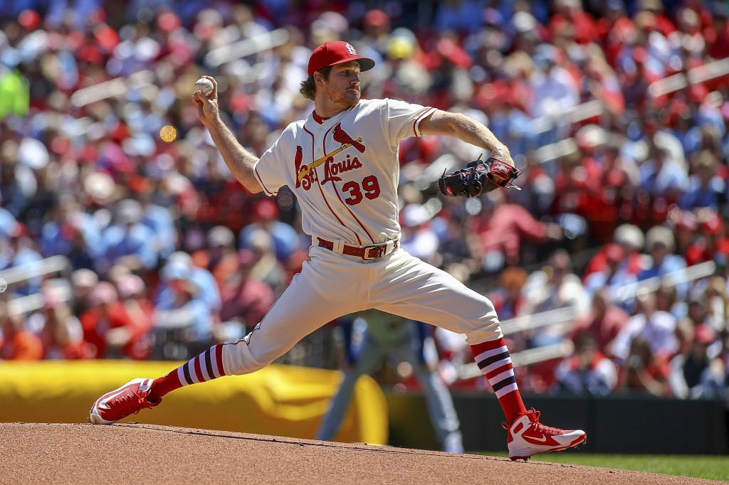 St. Louis Cardinals starting pitcher Miles Mikolas (39) throws during the first inning of a baseball game against the New York Mets Saturday, April 20
