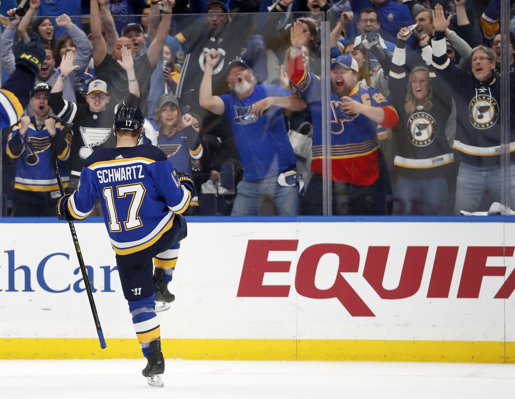 St. Louis Blues' Jaden Schwartz celebrates after scoring during the second period in Game 6 of an NHL first-round hockey playoff series against the Wi