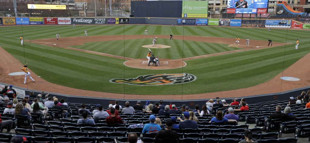 The Akron RubberDucks logo is situated behind home plate on the field during a minor league baseball game between Akron and Bowie, Thursday, April 18,...